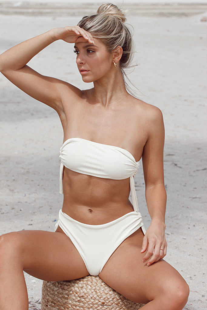 Del Mar Top - Cream Ribbed