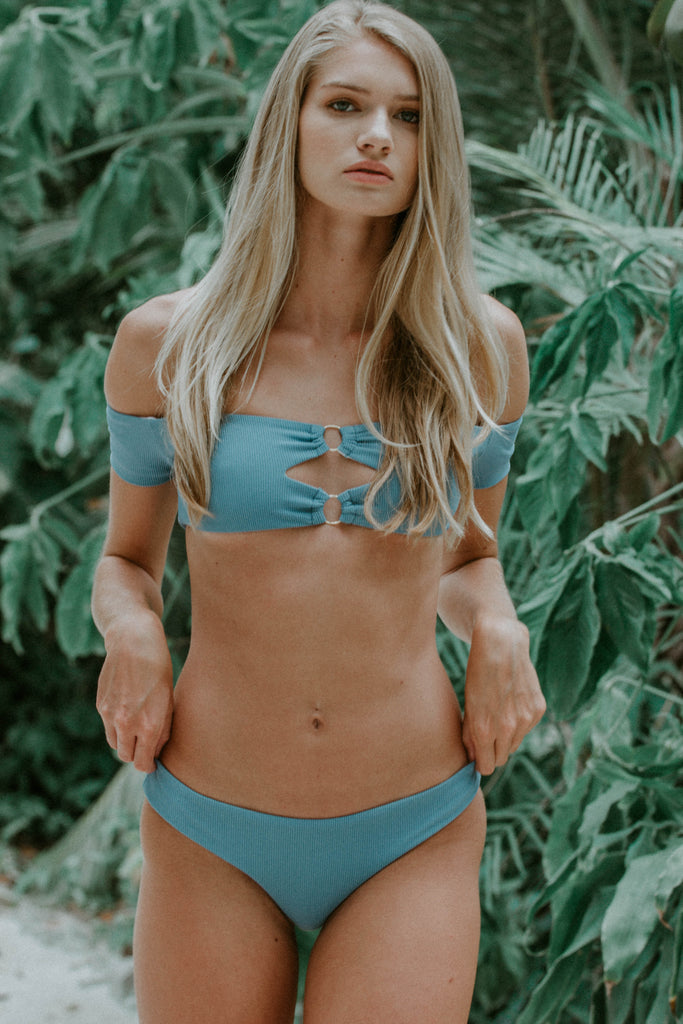 Poppy Blue Off The Shoulder Bikini Set