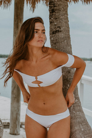 Panama White Ruffle One Piece