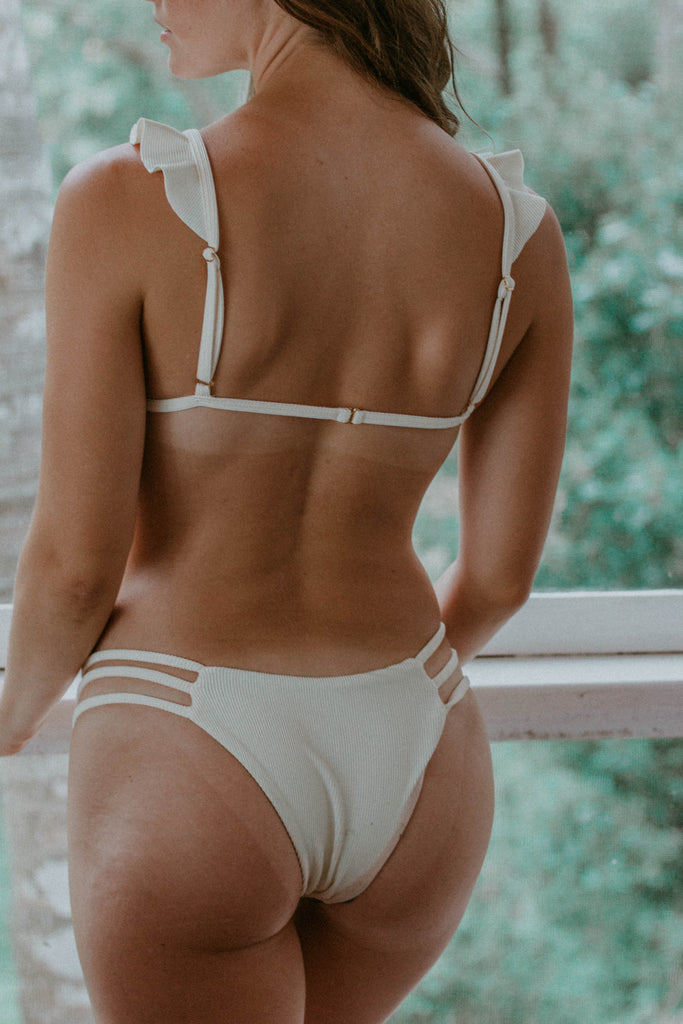 Gardenia Cream Ribbed Bikini Set