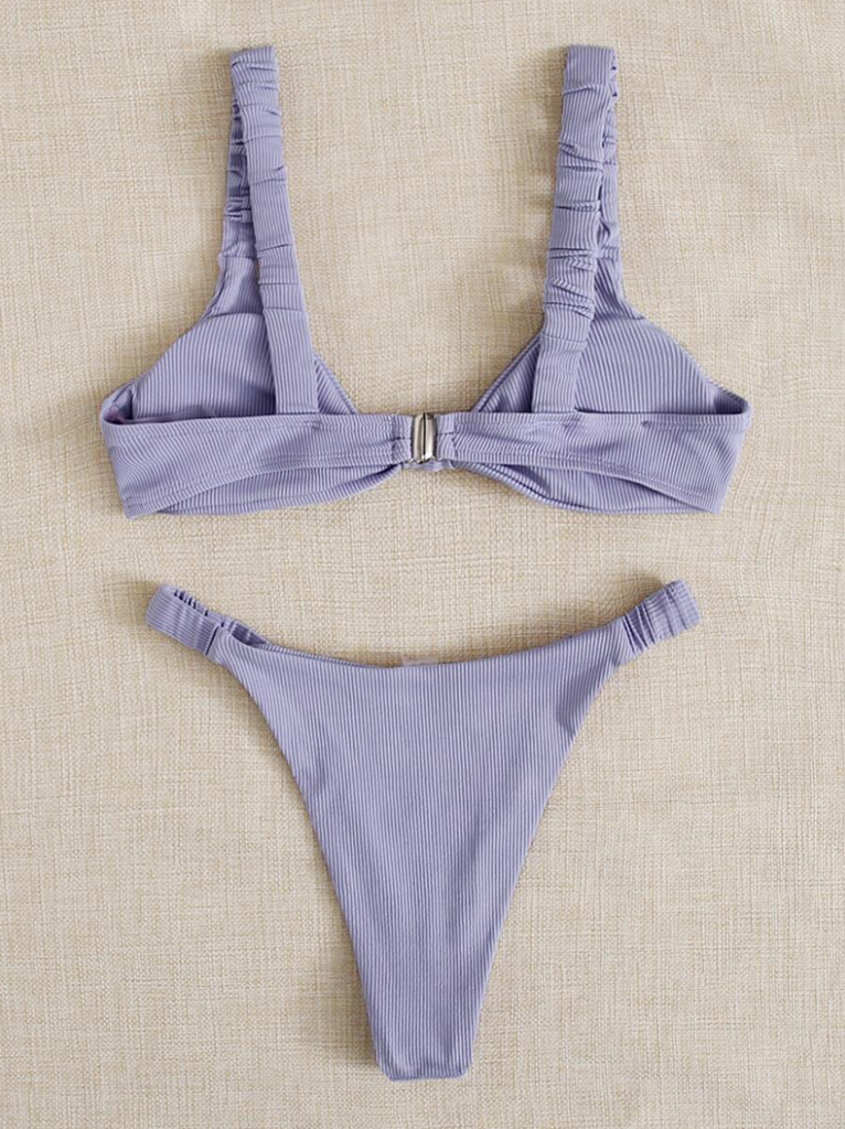 Penelope Purple Ribbed Bikini Set