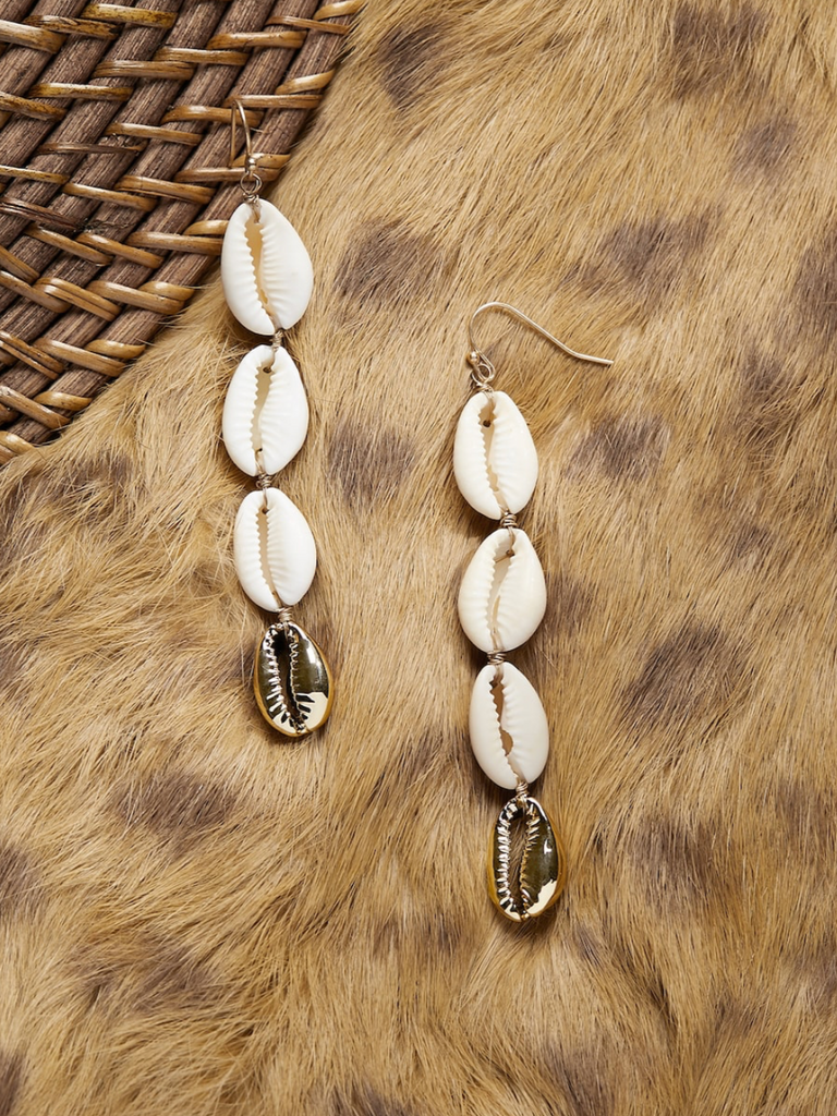Quad Puka Shell Dangling Earrings