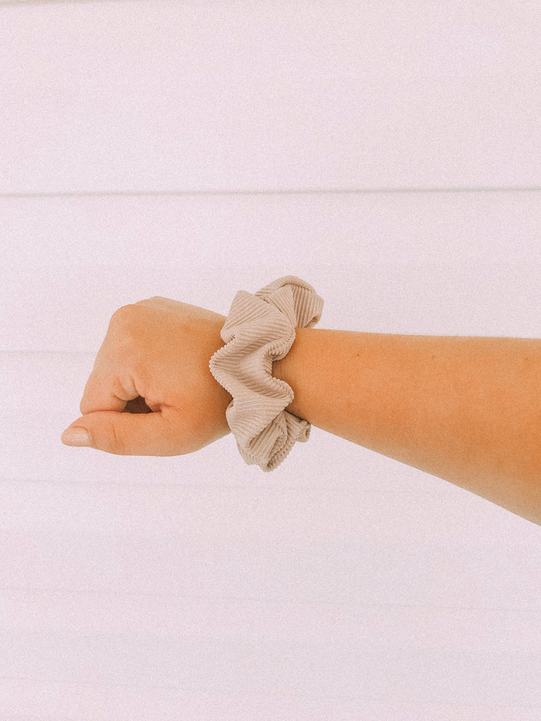 Gardenia Tan Ribbed Scrunchie