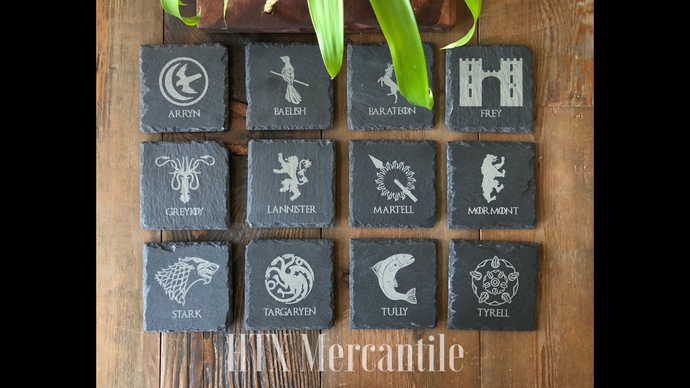 Game of Thrones Slate Coasters - set of 12
