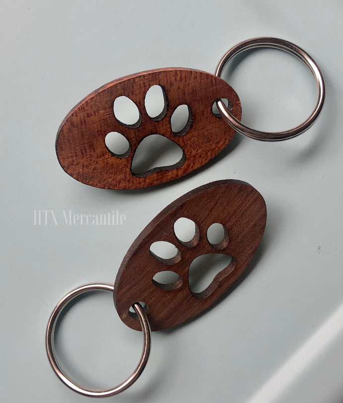Wooden Paw Keyring
