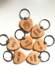 Maple Heart Engraved Keychain
