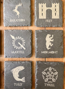 Game of Throne Slate Coasters - set of 12