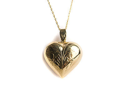 Large Etched Puff Heart Necklace