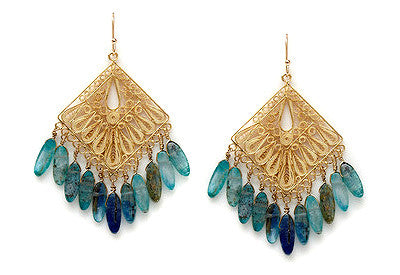Filigree Kyanite Drop Earrings
