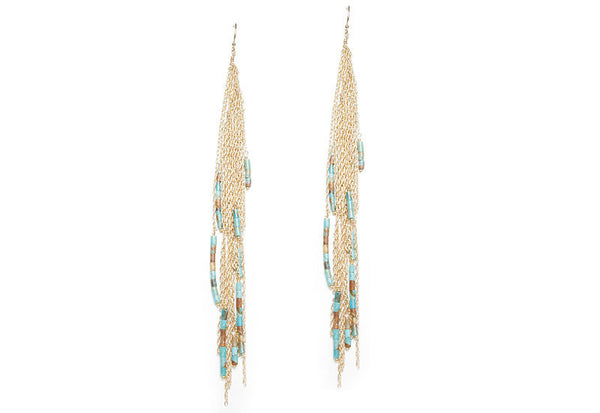 Beaded Long Fringe Earrings