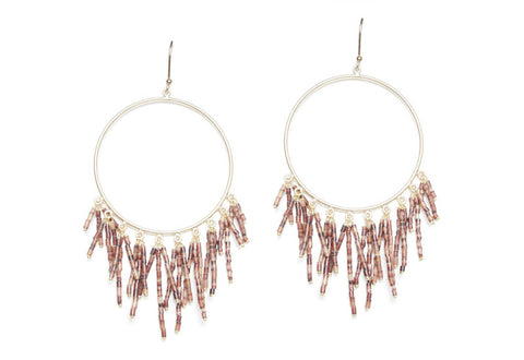 Beaded Triple Fringe Hoop Earrings