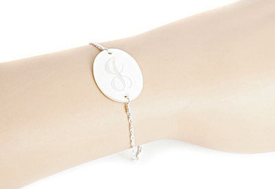 Medium Mother of Pearl Oval Engraved Bracelet