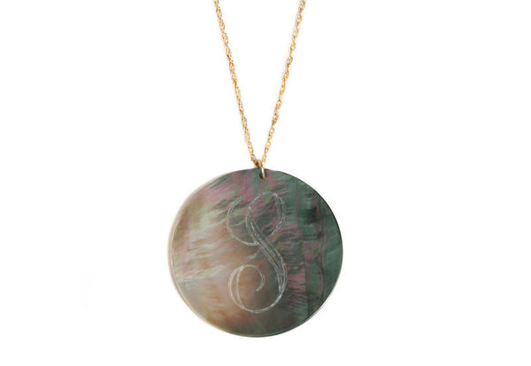 X-Large Round Engraved Long Shell Long Necklace