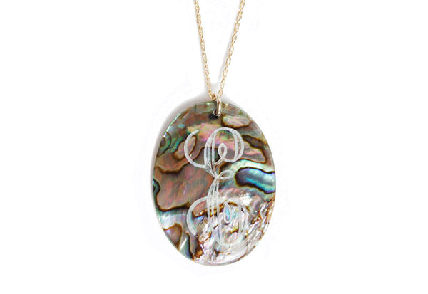 Large Oval Engraved Shell Long Necklace