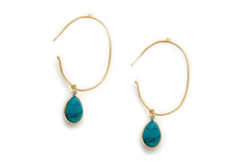 Gem Drop Wavy Hoop Earrings