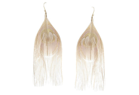 Beige Peacock Cascading Chain Earrings