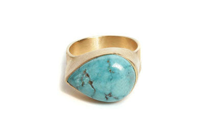 Turquoise Sideways Teardrop Ring