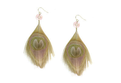 Cut Peacock Feather Earrings with Shell Accent