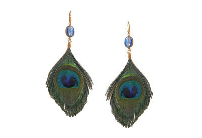 Cut Peacock Feather Earrings with Bead Accent