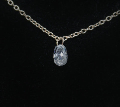 Diamond Briolette Drop Necklace