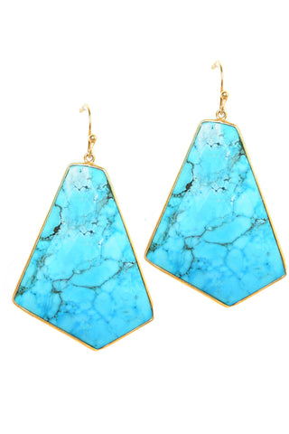 Geometric Large Turquoise Earrings