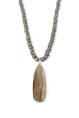 Wood Beaded Tiger's Eye Necklace