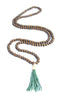 Wood Beaded Small Heishi Tassel Necklace