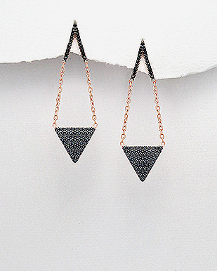 Black Rose Diamond Bucket Earrings