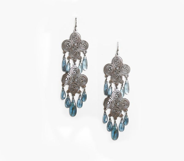 Double Shell Chandelier earrings w/kyanite