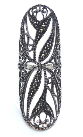 Long Marcasite Lace Ring