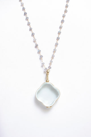 Labradorite Beaded Glass Locket Necklace