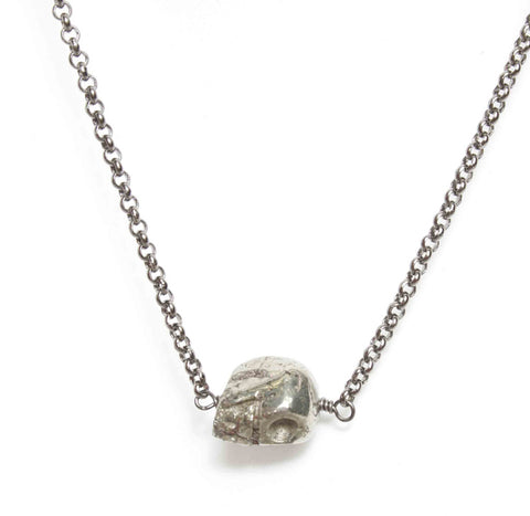 Tiny Metal Skull Necklace
