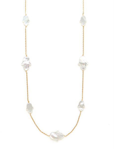 Mother of Pearl Long Hamsa Necklace