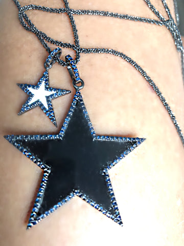 Double Sapphire Star Necklace