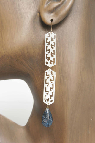 Long Shell Earrings with Gem Drop