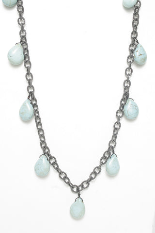 Gunmetal Turquoise Drop Necklace