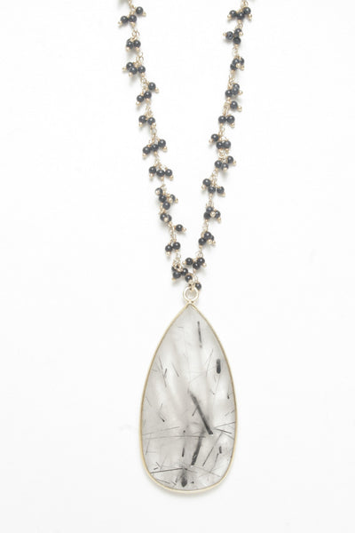 Onyx Necklace with Tourmalated Quartz Pendant