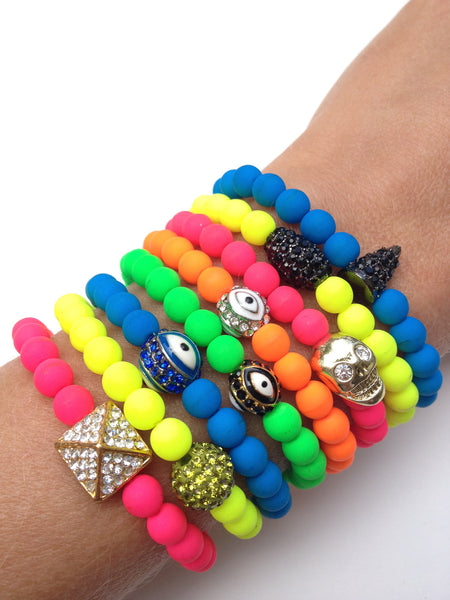 Mini Neon Stretch Bracelets with Charm