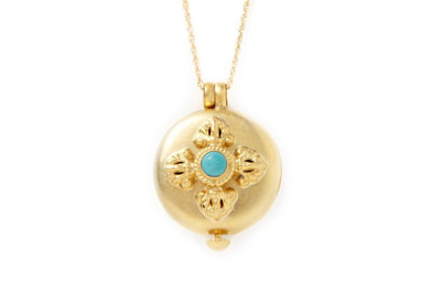 Turquoise Stone Locket Necklace