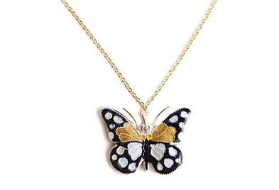 Small Black & White Butterfly Necklace