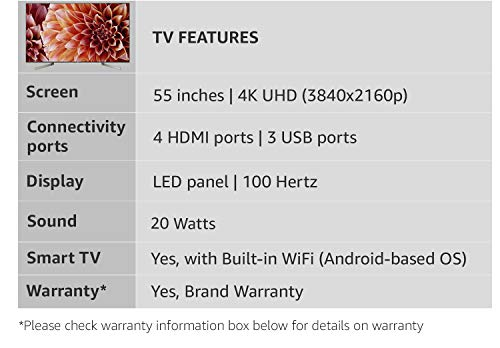 Sony Bravia 138 cm (55 Inches) 4K UHD LED Smart Android TV KD-55X9000F  (Black) (2018 model)