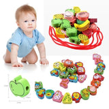 Kacakid Baby Toys Lacing Wooden Threading Beads Game Education