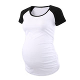 Liu & Qu Sleeve Side Ruched Maternity T Shirts Top Pregnancy Shirt