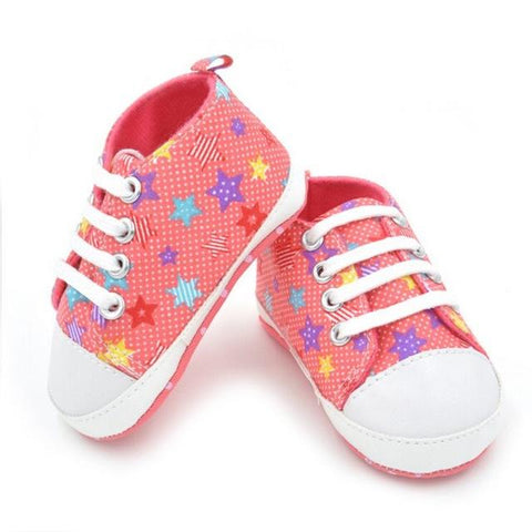 Kacakid Baby Girl Shoes Lace Crib New Plaids Star Printed Shoes