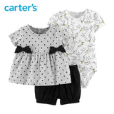 Carters Baby Girl Clothes 3-Piece Unicorn Short Set Polka Dot Top Cotton Bodysuit