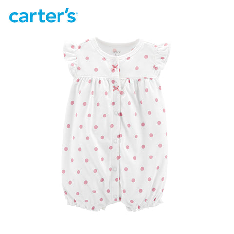 Carters Baby Girl Rompers Print Snap-Up Flutter Sleeves Cotton Romper