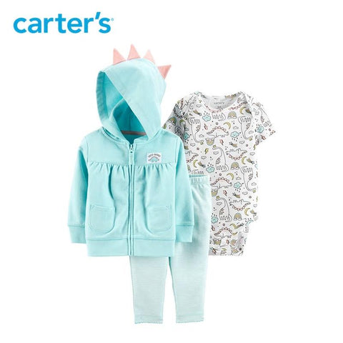 Carters Baby Girl 3-Pcs Jacket Set Cute Dinosaur Print Clothes