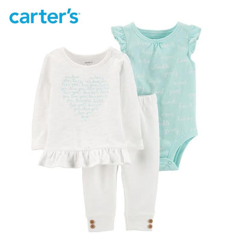 Carters 3Pcs Baby Girl Clothes Heart Top Tee Bodysuit
