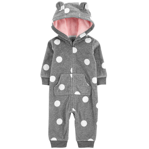 Carters Baby Girl Hooded Fleece Polka-Dot Jumpsuit Grey Romper