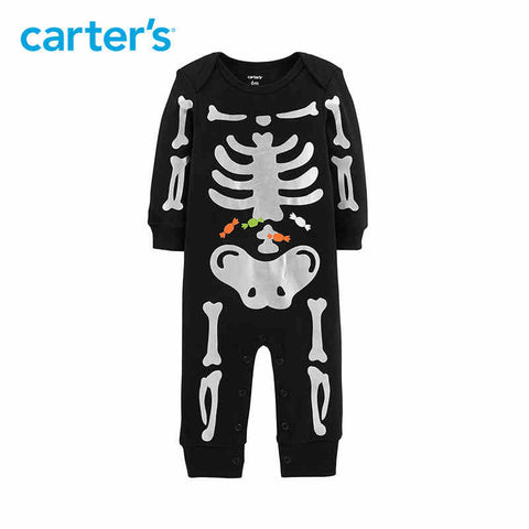 Carters Halloween Baby Rompers Cute Skeleton Print